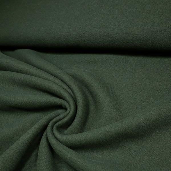 Schurwolle-Mix Mantelvelour uni - dunkelgrün