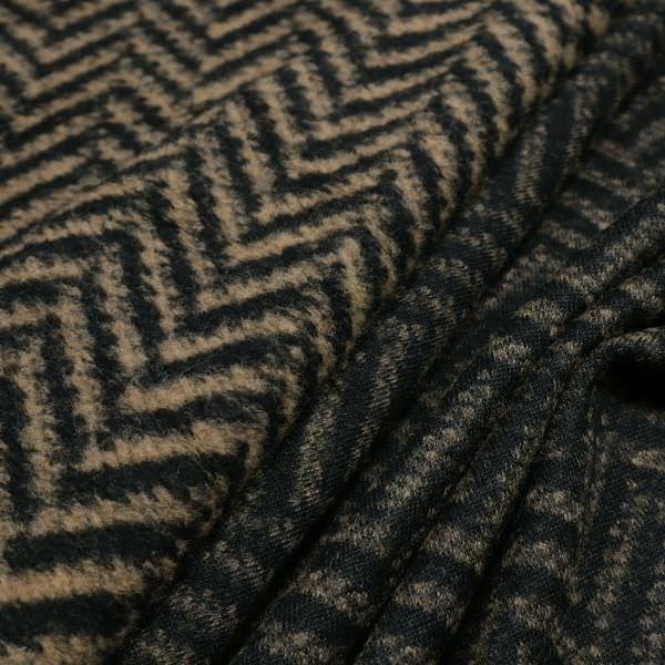 Woll-Mix Strick Fischgrat - hellbraun/schwarz