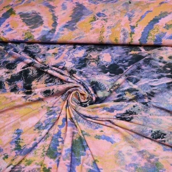 Jersey mit Batik Motiv - flieder/hellblau/rosé/gelb/ocker
