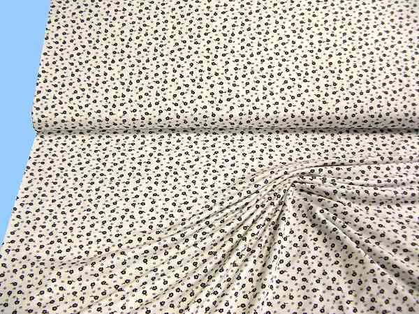 Feinjersey mit Blümchen - wollweiss/schwarz