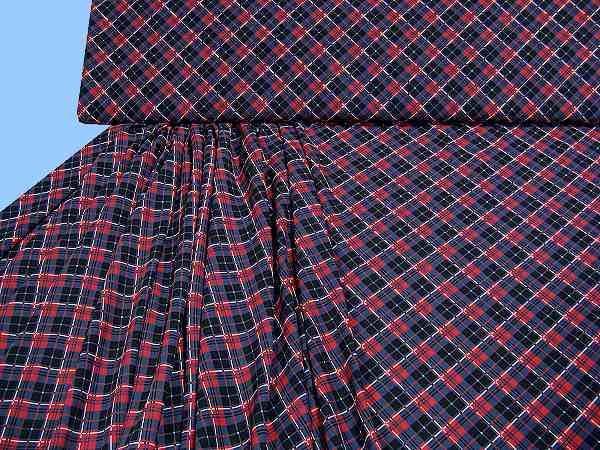 Blusen- und Kleiderstoff mit Karo - marine/rot/weiss/schwarz