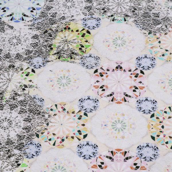 Viskosejersey Mandala Blumen - wollweiss/gelb/rosé/türkis/schwarz