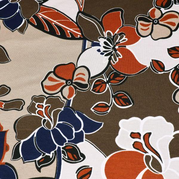 Viskosejersey Blumen-Motiv - beige/braun/terrakotta/nachtblau/schwarz
