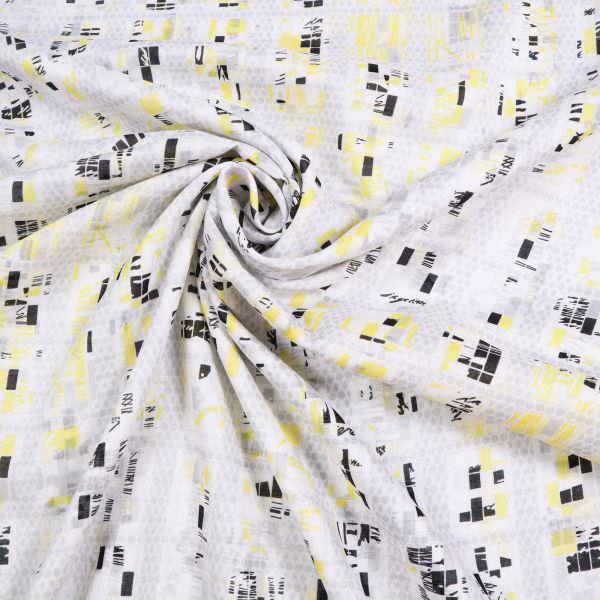 Baumwoll- Voile Geometrische Muster - weiss/hellgrau/gelb/schwarz