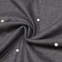 Flanellstoff Melange mit Perlen - anthrazit/schwarz/wollweiss