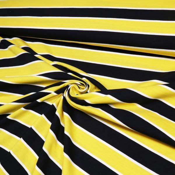 Baumwolljersey mit Querstreifen - gelb/wollweiss/schwarz Extra breit !