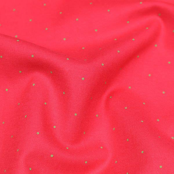 Baumwollstoff mit Punkten - rot/grün