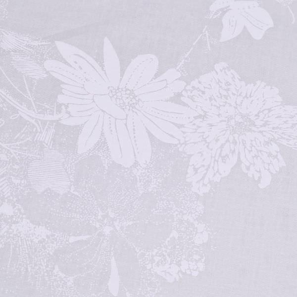Stretch Baumwollstoff mit Blumen-Motiv - wollweiss/weiss