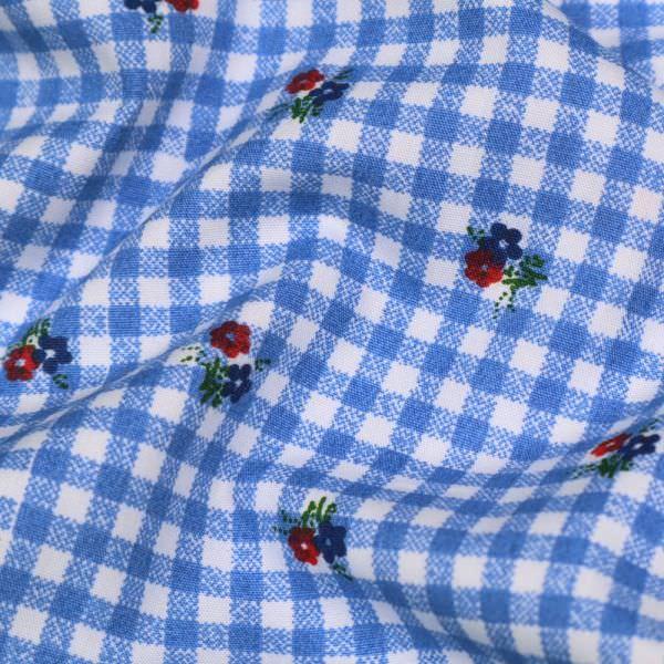 """Baumwollstoff """"Vichykaro&Streublümchen"""" - weiss/blau/rot/grün/dunkelblau"""