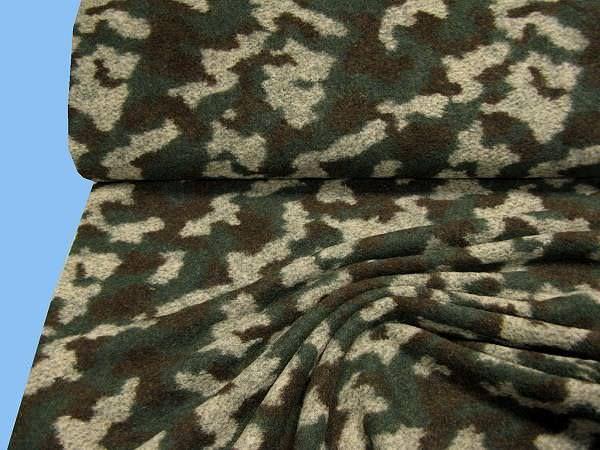 Kochwolle mit Camouflagemuster - dunkelgrün/grau/braun