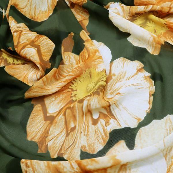 Viskose Chiffon grosse Blumen - dunkelgrün/gelb/ocker/braun/wollweiss