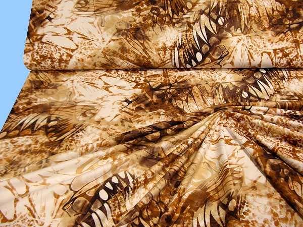 Feinjersey - wollweiss/beige/braun