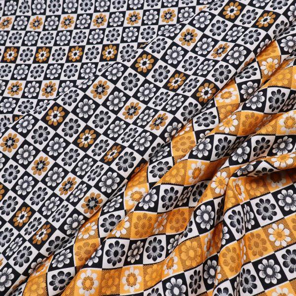 Stretch Jacquard mit Blumen-Motiv - wollweiss/orange/schwarz