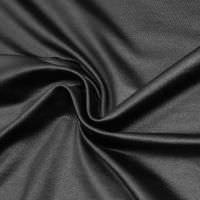 Stretch Sommersweat Stoff uni & glänzend  - schwarz