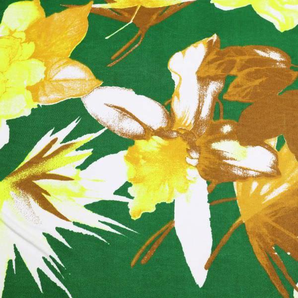 Baumwollstoff mit Blumen-Moiv - grün/neongelb/ocker/hellbraun/wollweiss (2.Wahl)