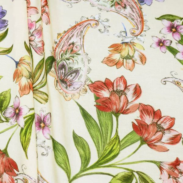 Viskosestoff Blumen & Paisleymuster - creme/rosé/rot/violett/achs (2.Wahl)