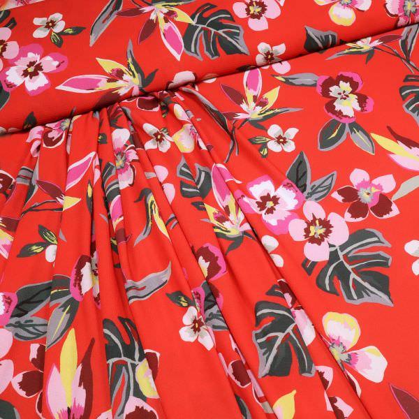 Crêpe mit Blumen-Motiv - rot/rosé/gelb/grau