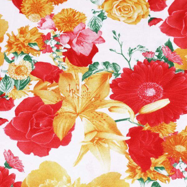 "Viskosejersey ""Rosen&Lilien"" - wollweiss/gelb/orange/rot/grün"