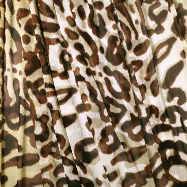 Crêpe Chiffon mit Leoparden-Muster - beige/braun