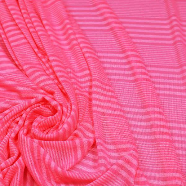 Feinjersey mit Streifen - neonpink/weiss