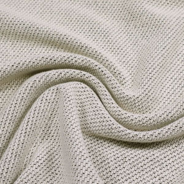 Baumwoll- Feinstrick Melange & Struktur - wollweiss/schwarz Extra breit !