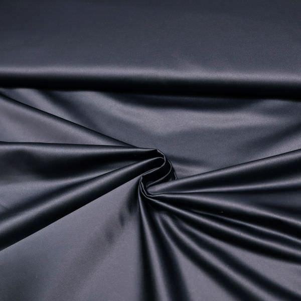 Satin Kleiderstoff uni - nachtblau