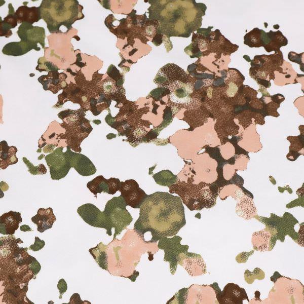 Stretch Baumwoll- Twill mit Blumen-Motiv - wollweiss/altrosa/braun/schilfgrün