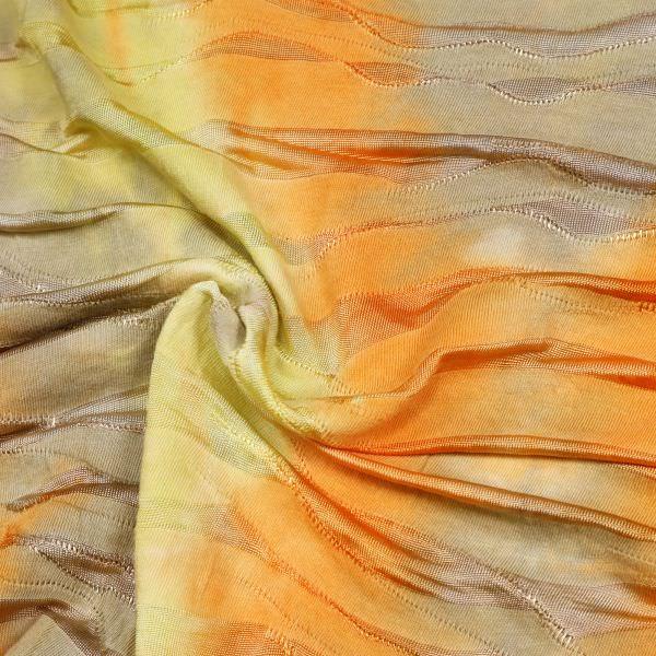 Viskosejersey Wellenmuster & Batik - senfgelb/orange/khaki