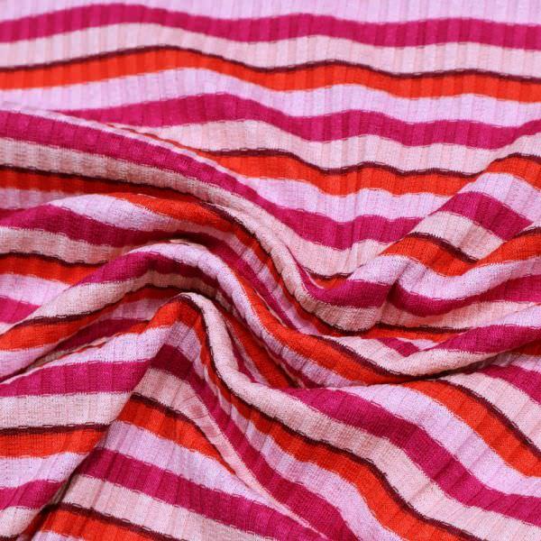 Rippenstrick Feinstrick-Jersey mit Querstreifen - rosé/fuchsia/hellrot/apricot