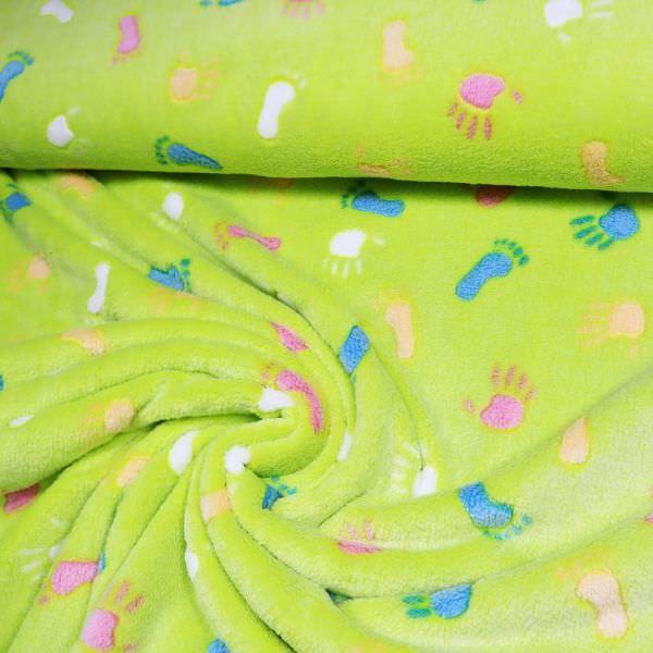 Super Soft Microfaser Plüsch Stoff Kinder-Motiv - hellgrün/pink/blau/apricot/weiss
