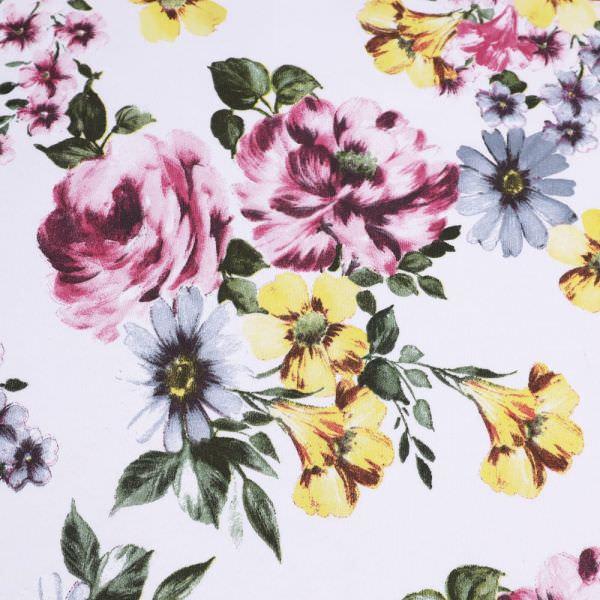 Sweatshirt Stoff zarte Rosen - weiss/rosé/bordeaux/gelb/grau Extra breit !