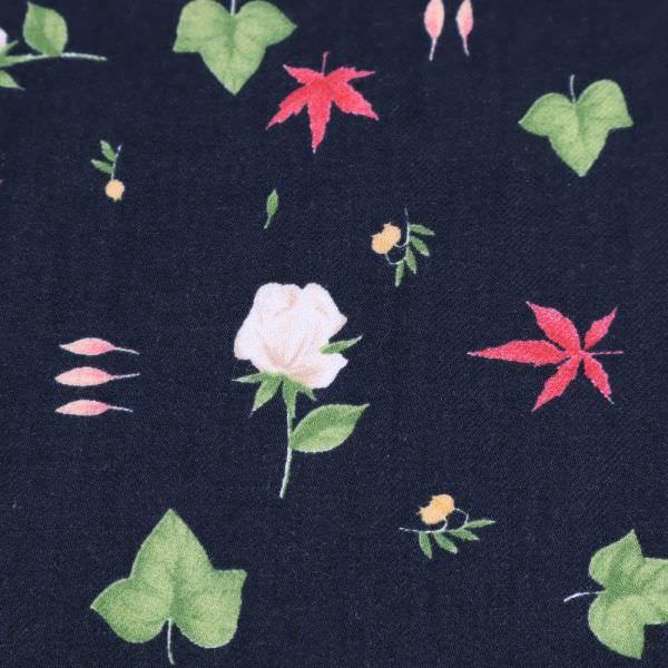Viskose Twill Rosen & Blätter - nachtblau/wollweiss/koralle/grün/gelb