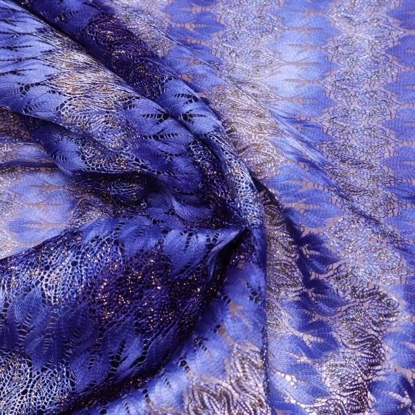 Strick-Spitze Batik & Zickzack-Muster - dunkelblau/hellblau/gold