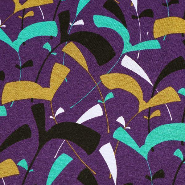 Viskosejersey abstrakte Blätter - lila/grün/khaki/schwarz