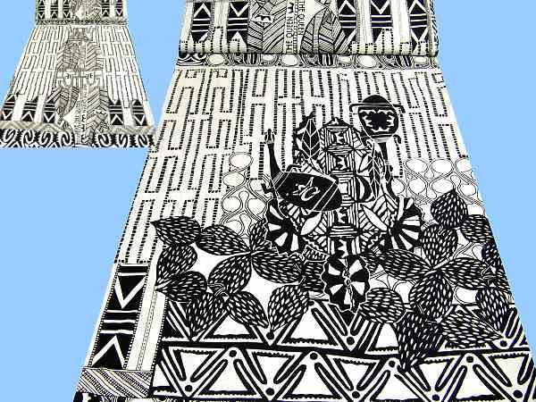 Feinjersey mit großem Muster - wollweiss/schwarz
