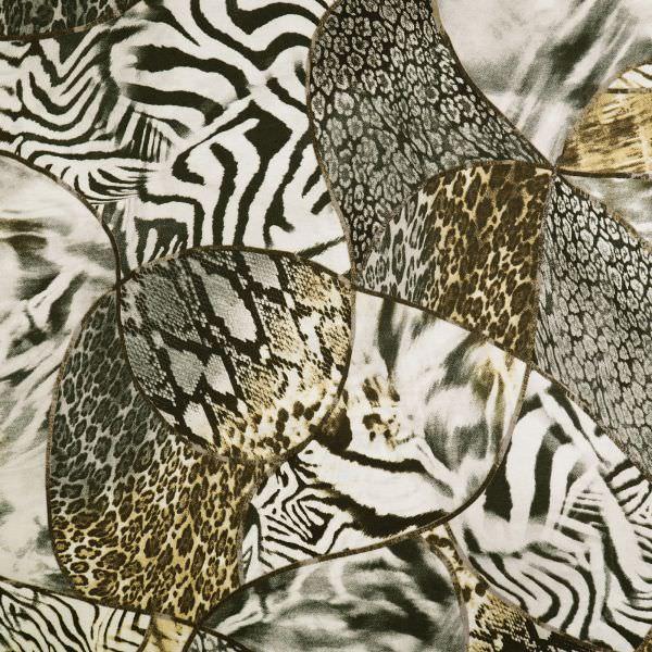 Baumwolljersey mit Leopard/Zebra&Schlangenmuster - wollweiss/beige/braun/schwarz