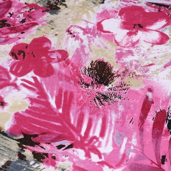 Viskosejersey Blumen & Palmenblätter - fuchsia/beige/khaki/wollweiss
