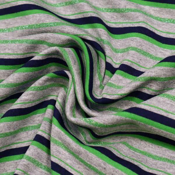Viskosejersey Lurex & Querstreifen - grau/grün/nachtblau/silber