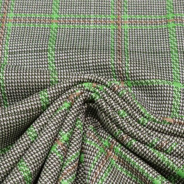 Stretch Feinstrick Glencheck Karo - grün/braun/schwarz/weiss