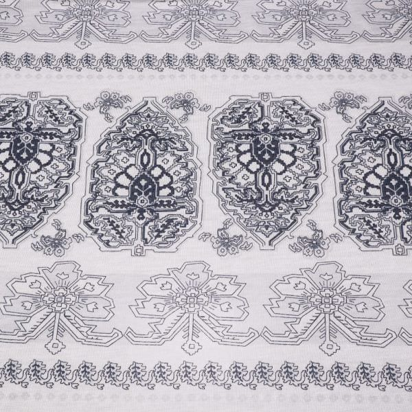 Feinstrick-Jersey Ornamente - wollweiss/marineblau (2.Wahl)