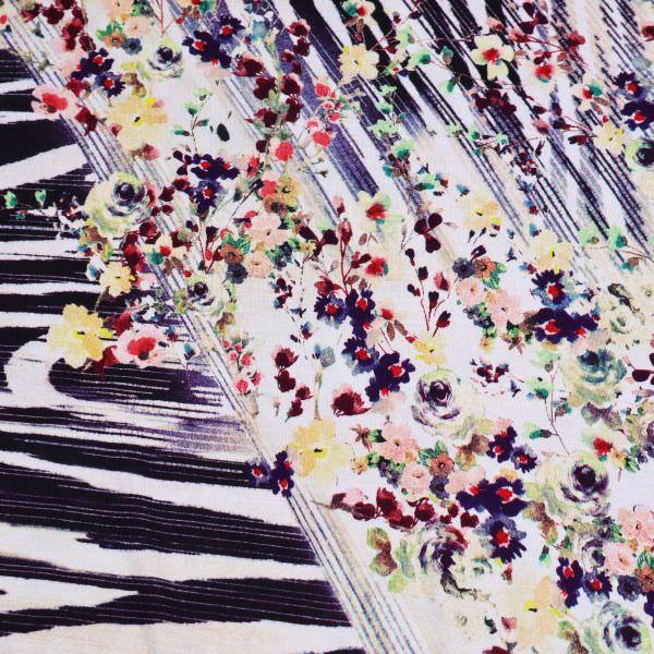 Viskosejersey Blumen & Streifen - wollweiss/rot/gelb/rosé/brombeere