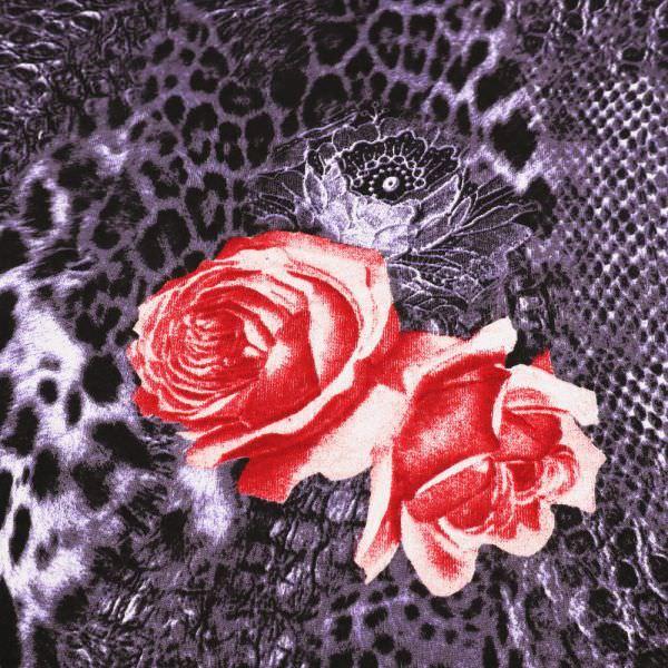 Sweatshirt Stoff Rosen & Leopardenmuster - lila/schwarz/rot/weiss Extra breit !