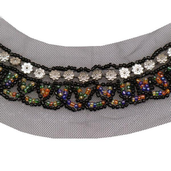 Applikation für Ausschnitt mit Perlen - schwarz/silber/multicolor