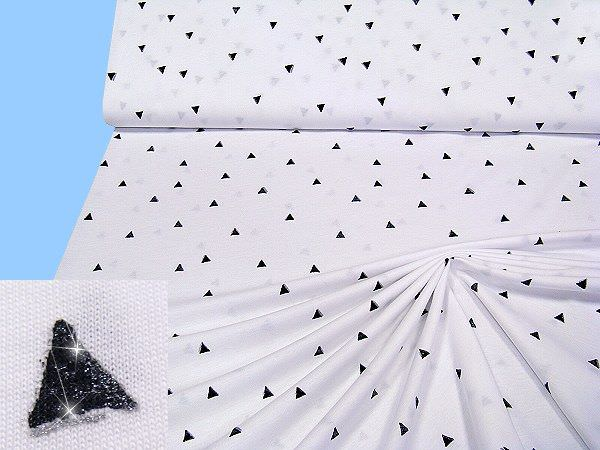 Baumwolljersey mit Glitzereffekt - weiss/schwarz/silber