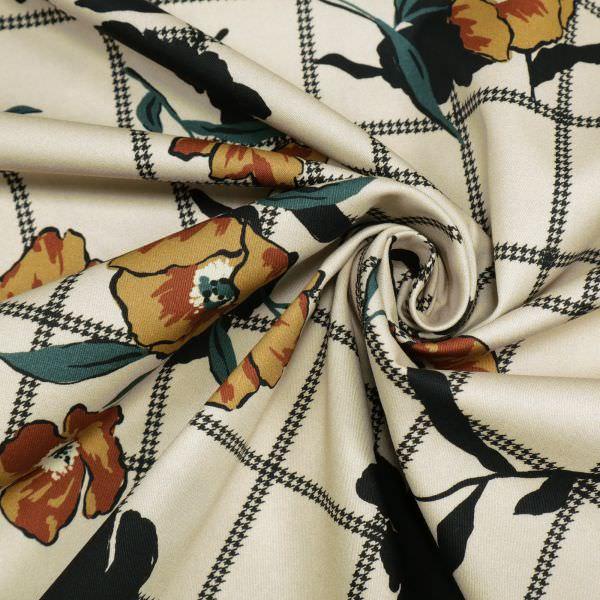 Stretch Baumwollstoff mit Blumen&Karo-Muster - beige/ocker/rehbraun/schwarz