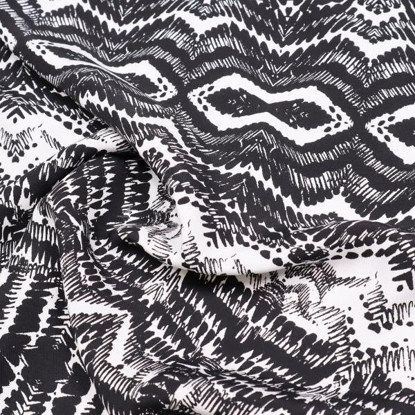 Viskose Twill mit Ethno-Muster - weiss/schwarz
