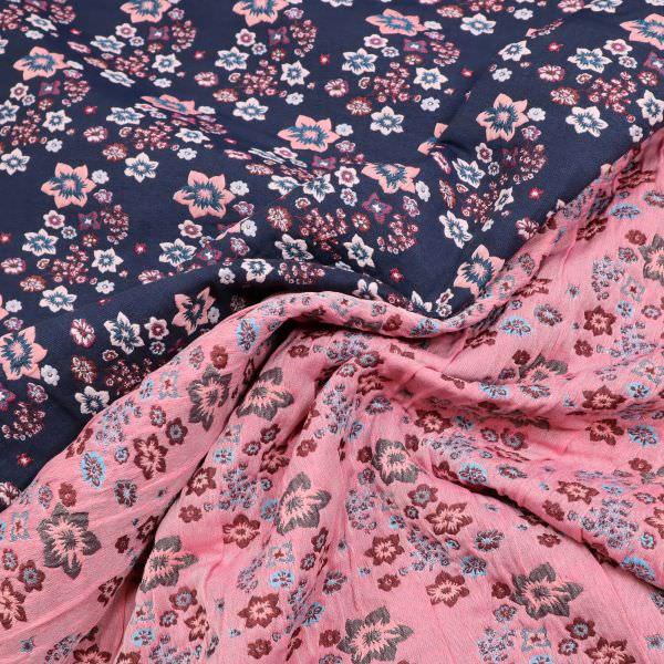 Doubleface Jacquard Romantische Blumen - nachtblau/rosé/rot/petrol
