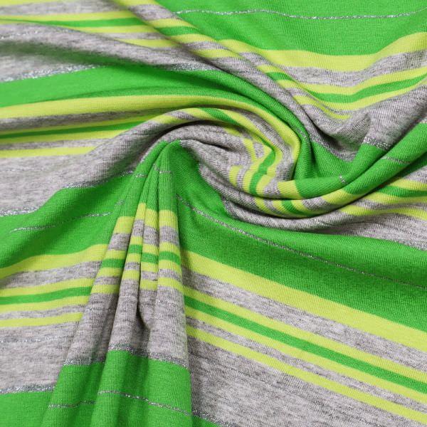 Viskosejersey Lurex & Querstreifen - grau/grün/lindgrün/silber
