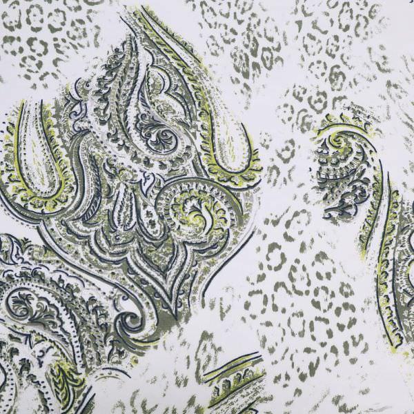 Stretch Sweatshirt Stoff Paisley & Leoparden-Motiv - weiss/taupe/marineblau/gelb Extra breit !