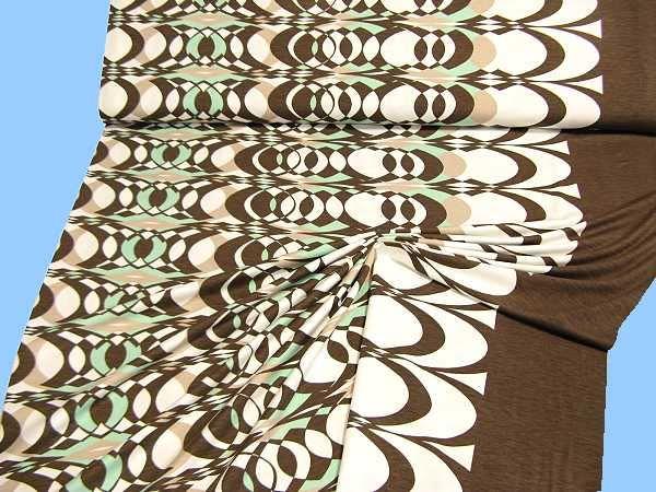 Viskosejersey Retro - wollweiss/braun/beige/mintgrün